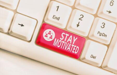 Word writing text Stay Motivated. Business photo showcasing Reward yourself every time you reach a goal with knowledge