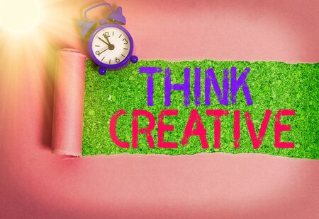 Writing note showing Think Creative. Business concept for The ability to perceive patterns that are not obvious