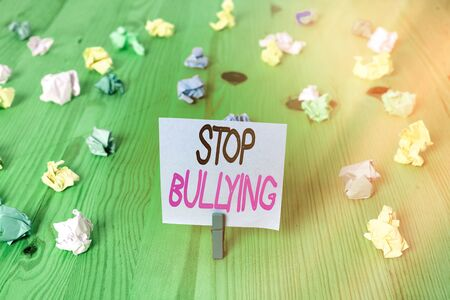 Text sign showing Stop Bullying. Business photo showcasing Fight and Eliminate this Aggressive Unacceptable Behavior