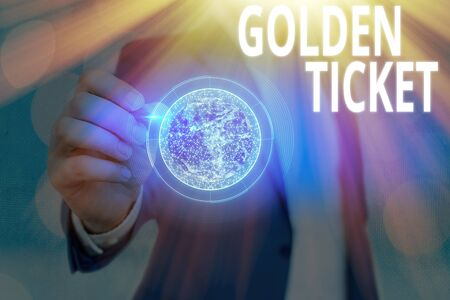 Text sign showing Golden Ticket. Business photo showcasing Rain Check Access VIP Passport Box Office Seat Event