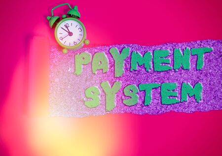 Text sign showing Payment System. Business photo showcasing Compensation Scheme Method used in paying goods and services