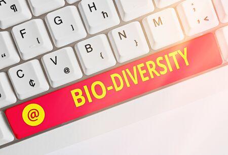 Text sign showing Bio Diversity. Business photo text Variety of Life Organisms Marine Fauna Ecosystem Habitat