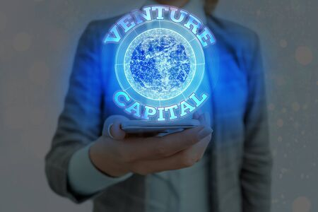 Text sign showing Venture Capital. Business photo showcasing financing provided by firms to small early stage ones