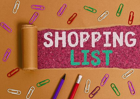 Word writing text Shopping List. Business photo showcasing Discipline approach to shopping Basic Items to Buy