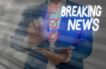 Word writing text Breaking News. Business photo showcasing Special Report Announcement Happening Current Issue Flashnews