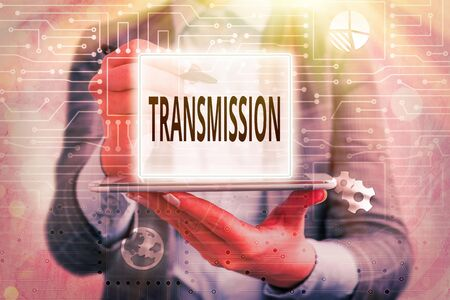 Text sign showing Transmission. Business photo text Automobile engine part High voltage power electrical wires