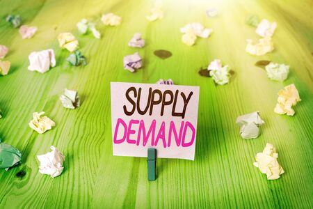 Text sign showing Supply Demand. Business photo showcasing Relationship between the amounts available and wanted