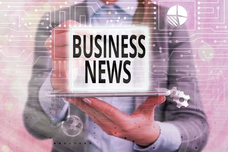 Text sign showing Business News. Business photo text Commercial Notice Trade Report Market Update Corporate Insight