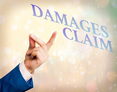 Writing note showing Damages Claim. Business concept for Demand Compensation Litigate Insurance File Suit
