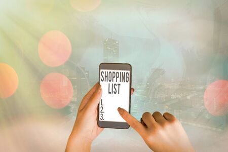 Conceptual hand writing showing Shopping List. Concept meaning Discipline approach to shopping Basic Items to Buy
