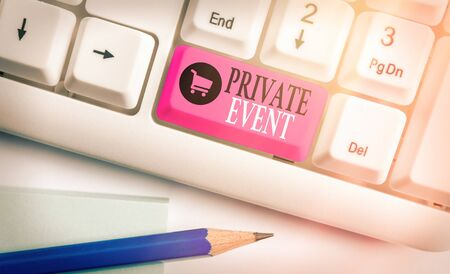 Writing note showing Private Event. Business concept for Exclusive Reservations RSVP Invitational Seated Фото со стока