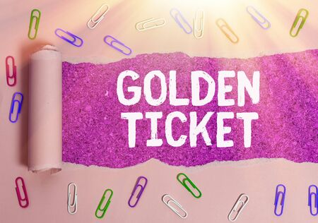 Text sign showing Golden Ticket. Business photo text Rain Check Access VIP Passport Box Office Seat Event