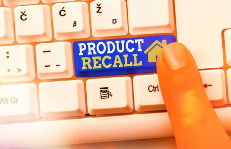 Text sign showing Product Recall. Business photo showcasing Request by a company to return the product due to some issue