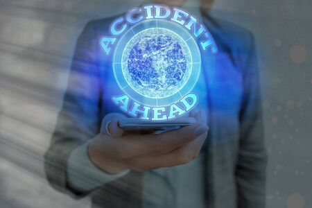 Text sign showing Accident Ahead. Business photo showcasing Unfortunate event Be Prepared Detour Avoid tailgating