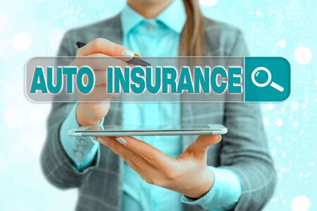 Text sign showing Auto Insurance. Business photo text Protection against financial loss in case of accident