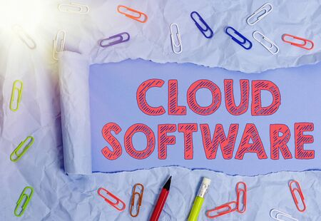 Handwriting text Cloud Software. Conceptual photo Programs used in Storing Accessing data over the internet