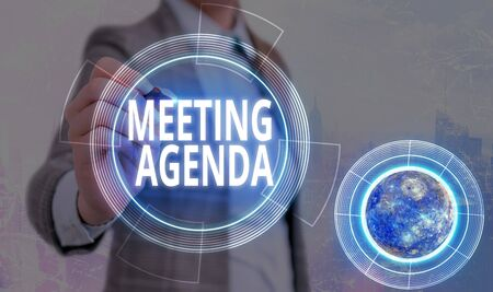 Conceptual hand writing showing Meeting Agenda. Concept meaning An agenda sets clear expectations for what needs to a meeting