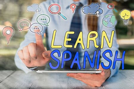 Text sign showing Learn Spanish. Business photo showcasing Translation Language in Spain Vocabulary Dialect Speech