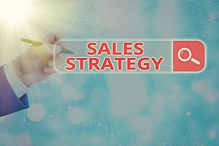 Conceptual hand writing showing Sales Strategy. Concept meaning Plan for reaching and selling to your target market Marketing