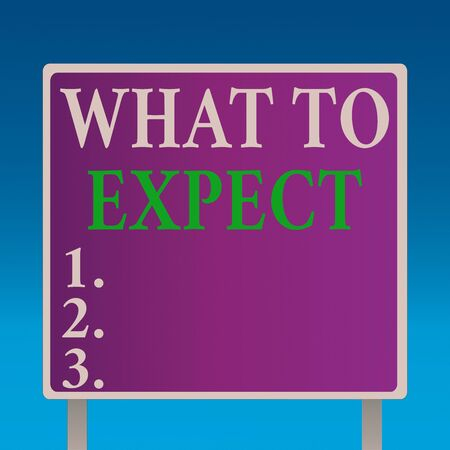 Conceptual hand writing showing What To Expect. Concept meaning asking about regard something as likely to happen occur Square Billboard Standing with Frame Border Outdoor Display Stock Photo