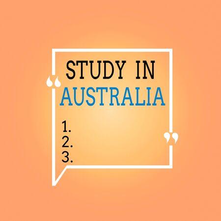 手写文本研究在澳大利亚。概念照片进入外国订单完成您的学习空白方形边界轮廓引用泡沫与引号标点符号