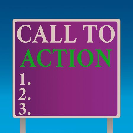 Conceptual hand writing showing Call To Action. Concept meaning exhortation do something in order achieve aim with problem Square Billboard Standing with Frame Border Outdoor Display Stock fotó