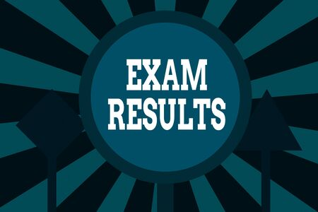 Text sign showing Exam Results. Business photo showcasing An outcome of a formal test that shows knowledge or ability Three Blank Safety Road signs One lighted and two dark Street Signage