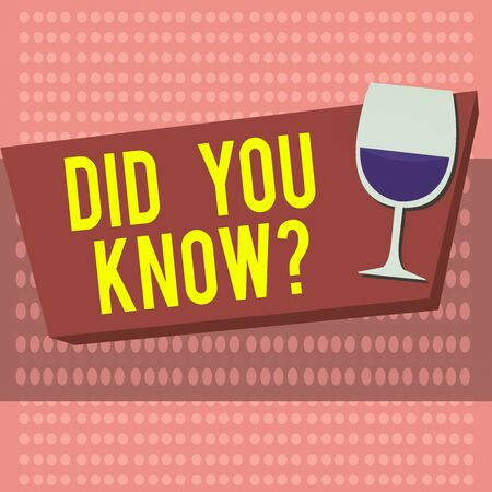 Text sign showing Did You Know Question. Business photo showcasing when you are asking someone if they know fact or event Halftone Goblet Glassware Half filled with Wine on Rectangular shape Form
