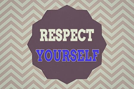 Word writing text Respect Yourself. Business photo showcasing believing that you good and worthy being treated well Twelve 12 Pointed Star shape Dodecagon in Solid Color Zigzag effect Polygon Stock Photo