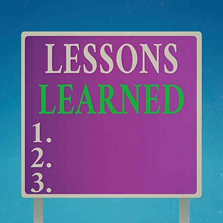 Conceptual hand writing showing Lessons Learned. Concept meaning experiences distilled project that should actively taken Square Billboard Standing with Frame Border Outdoor Display