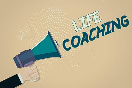 Conceptual hand writing showing Life Coaching. Concept meaning an individual employed to help showing attain their goals in career Male Hu analysis Hand Holding Megaphone on Halftone Pattern