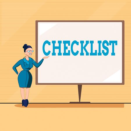 Text sign showing Checklist. Business photo text list items required things be done or points considered Female Doctor with Stethoscope Standing Hand Presenting Blank Whiteboard Stockfoto