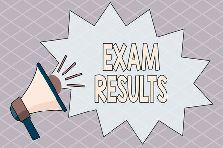 Conceptual hand writing showing Exam Results. Concept meaning An outcome of a formal test that shows knowledge or ability Megaphone with Volume Sound Effect and Jagged Scream Bubble