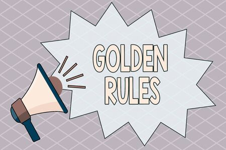 Conceptual hand writing showing Golden Rules. Concept meaning Basic principle that should be followed Important Principle Megaphone with Volume Sound Effect and Jagged Scream Bubble
