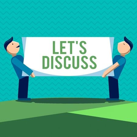 Text sign showing Let S Discuss. Business photo text asking someone to talk about something with an individual or showing Two Men Standing Carrying Rectangular Blank Panel Board on Both Sides Фото со стока