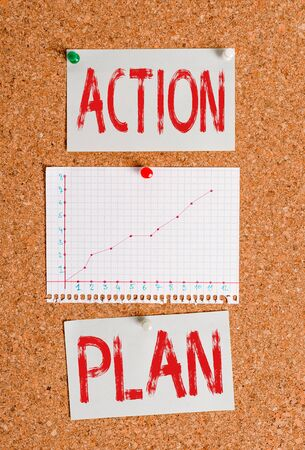 Text sign showing Action Plan. Business photo showcasing proposed strategy or course of actions for certain time Corkboard color size paper pin thumbtack tack sheet billboard notice board