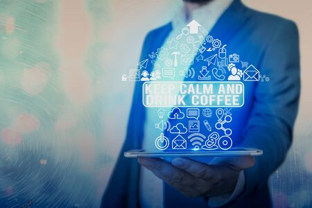 Conceptual hand writing text caption inspiration showing Keep Calm And Drink Coffee. conceptual meaning encourage an individual to enjoy caffeine drink and relax and Love written on wooden background, reminder background with space