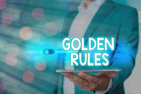 Handwriting text Golden Rules. Conceptual photo Basic principle that should be followed Important Principle Banque d'images