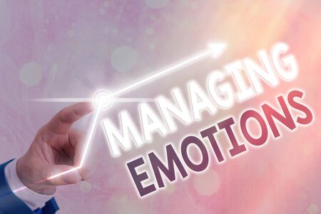 Text sign showing Managing Emotions. Business photo showcasing ability be open to feelings and modulate them in oneself