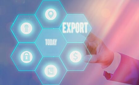 Text sign showing Export. Business photo text send goods or services to another country for sale Mass Production