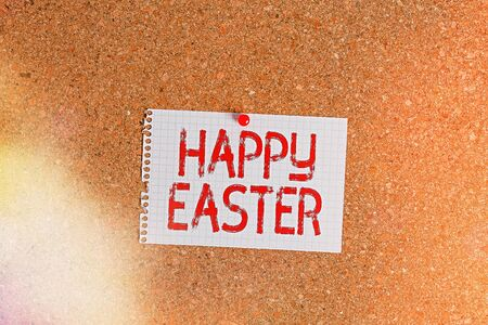 Word writing text Happy Easter. Business photo showcasing Christian feast commemorating the resurrection of Jesus Corkboard color size paper pin thumbtack tack sheet billboard notice board