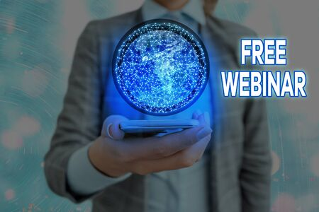 Text sign showing Free Webinar. Business photo showcasing Lecture Workshop Seminar that is transmitted over the Web Reklamní fotografie