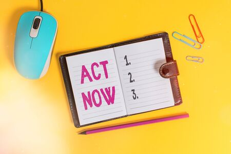 Writing note showing Act Now. Business concept for do not hesitate and start working or doing stuff right away Leather locked diary striped sheets marker mouse colored background