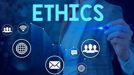 Word writing text Ethics. Business photo showcasing the moral philosophy or code of morals practiced by an individual