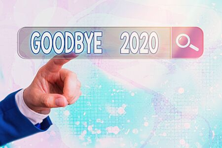 Word writing text Good Bye 2020. Business photo showcasing express good wishes when parting or at the end of last year Standard-Bild