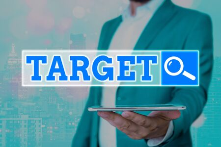 Text sign showing Target. Business photo showcasing an individual object or place selected as the aim of attack Life goal