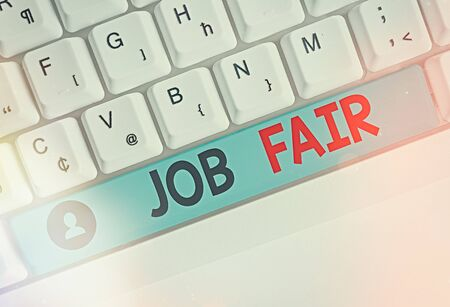 Text sign showing Job Fair. Business photo showcasing event in which employers recruiters give information to employees