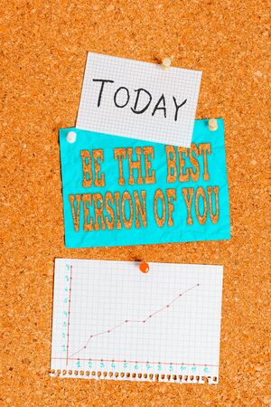 Word writing text Be The Best Version Of You. Business photo showcasing going to move away from where are start improving Corkboard color size paper pin thumbtack tack sheet billboard notice board Фото со стока