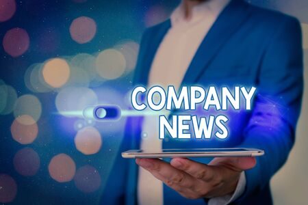 Handwriting text Company News. Conceptual photo Latest Information and happening on a business Corporate Report