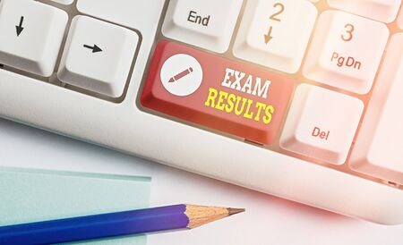 Handwriting text writing Exam Results. Conceptual photo An outcome of a formal test that shows knowledge or ability